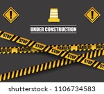 black and yellow warning sign...   Shutterstock .eps vector #1106734583
