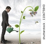 businessman watering a plant... | Shutterstock . vector #110675843