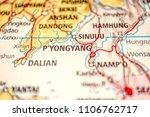 close up map of korea peninsula ... | Shutterstock . vector #1106762717