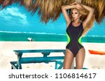 beautiful sexy woman  surfer in ... | Shutterstock . vector #1106814617