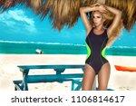 beautiful sexy woman  surfer in ... | Shutterstock . vector #1106814617