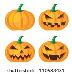halloween pumpkin with evil grinning, vector format. - stock vector