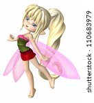 Cute toon fairy girl with blonde hair, dressed in summer petals and leaves, 3d digitally rendered illustration - stock photo