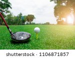 golf ball and club on green... | Shutterstock . vector #1106871857