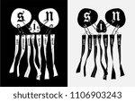 sins on black ribbon skull... | Shutterstock .eps vector #1106903243