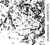 black musical notes on white...   Shutterstock .eps vector #1106907173