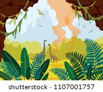 prehistoric nature. cartoon... | Shutterstock .eps vector #1107001757