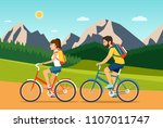 young woman and man ride the... | Shutterstock .eps vector #1107011747