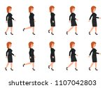 young woman in black suit... | Shutterstock .eps vector #1107042803