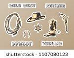 wild west vector sticker set.... | Shutterstock .eps vector #1107080123