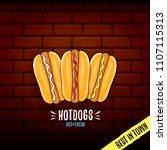 vector cartoon hotdogs label... | Shutterstock .eps vector #1107115313