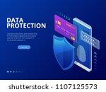 isometric personal data... | Shutterstock .eps vector #1107125573