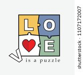 slogan love is a puzzle  | Shutterstock .eps vector #1107172007
