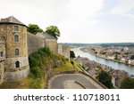 Panoramic view of Namur and medieval citadel, Belgium - stock photo