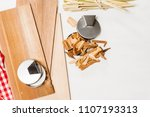 hickory and cedar wood grilling ... | Shutterstock . vector #1107193313