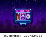 sports bar logo neon vector.... | Shutterstock .eps vector #1107324383