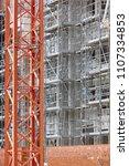 building facade under... | Shutterstock . vector #1107334853