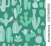 cacti seamless pattern with... | Shutterstock .eps vector #1107395033