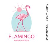 pink flamingo goes along the... | Shutterstock .eps vector #1107403847