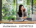 young businesswoman work with... | Shutterstock . vector #1107457313