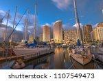beautiful panorama of sailing... | Shutterstock . vector #1107549473
