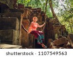 the tourist rides on  liana in... | Shutterstock . vector #1107549563