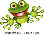 illustration, merry green frog with greater eye - stock photo