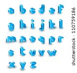 3d  alphabet set - stock vector