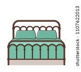 bed. vector. outline retro... | Shutterstock .eps vector #1107622013
