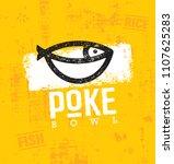 poke bowl hawaiian cuisine...   Shutterstock .eps vector #1107625283