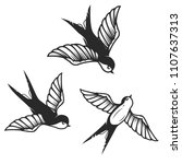 set of hand drawn swallow... | Shutterstock .eps vector #1107637313