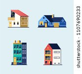 set of houses. suburban house ... | Shutterstock . vector #1107690233