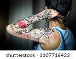 back of a beautiful girl with...   Shutterstock . vector #1107716423