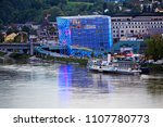 Small photo of LINZ AUSTRIA - 05/04/2014; Th Ars Electronica Center or AEC a center for electronic Arts on the shoreline of the River Danube in Austria illuminated at dusk