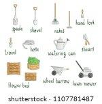 vector set of colored garden... | Shutterstock .eps vector #1107781487