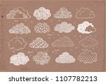set of doodle sketch clouds on... | Shutterstock .eps vector #1107782213