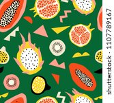 seamless pattern with tropical... | Shutterstock .eps vector #1107789167