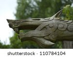 Viking wood carving of mythical beast, Denmark, Scandinavia - stock photo