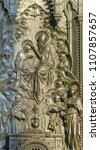 god blessing mary sculpture... | Shutterstock . vector #1107857657