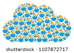 cloud figure formed of hatch... | Shutterstock .eps vector #1107872717