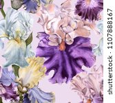 background with iris. seamless... | Shutterstock . vector #1107888167