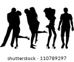 set of black silhouettes of... | Shutterstock . vector #110789297