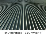 Metal roof surface, horizontal photo. - stock photo