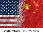 american and chinese flags on... | Shutterstock . vector #1107976847