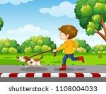 young boy walking a dog...   Shutterstock .eps vector #1108004033