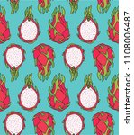 pattern of sweet juicy dragon... | Shutterstock .eps vector #1108006487