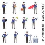 set of policeman characters... | Shutterstock .eps vector #1108007567