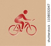 cycling icon in halftone style. ...