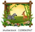 zebra dan deer in forest frame | Shutterstock .eps vector #1108063967