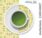 cup of green tea with abstract...   Shutterstock .eps vector #1108142837